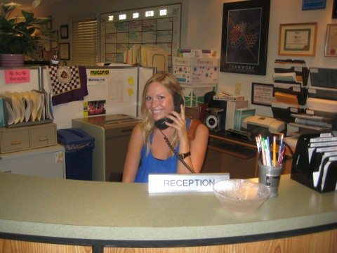temporary work as a receptionist